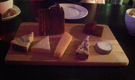British artisan cheese board, walnut and raisin bread,quince jelly 5 cheeses: £10.50