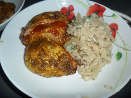 Mango chicken with spiced pilau