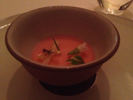 White asparagus custard, lobster consomme, rhubarb and caviar