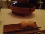 2 bread rolls, and chowder