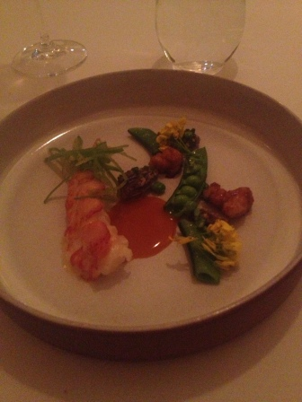 Lobster with meyer lemon butter, sweetbreads, morelle mushrooms and lobster bisque