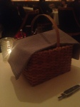 Cheese course served in a basket
