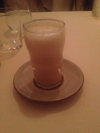 A drink of malt syrup, milk, soda water with olive oil