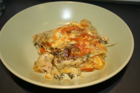 Chicken, squash and pesto lasagne